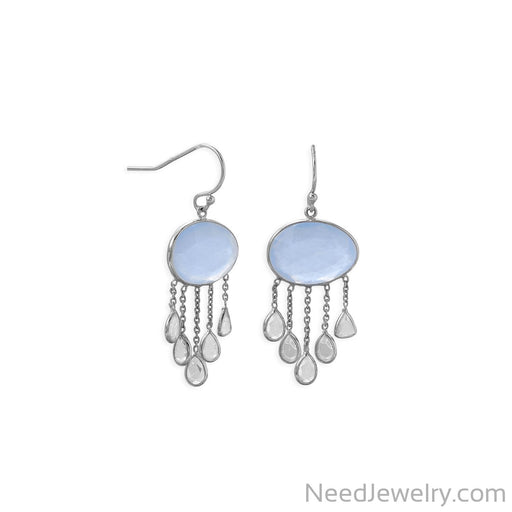 Item # [sku} - Rhodium Plated Chalcedony and White Topaz Drop Earring on NeedJewelry.com