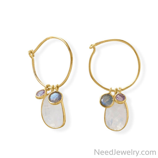 Item # [sku} - Hoop Earring with Amethyst, Labradorite and Rainbow Moonstone Earring on NeedJewelry.com