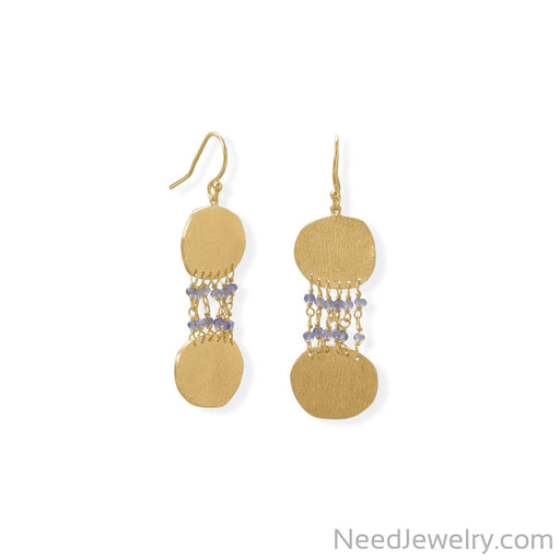 Item # [sku} - 14 Karat Gold Plated Iolite and Textured Disk Earring on NeedJewelry.com