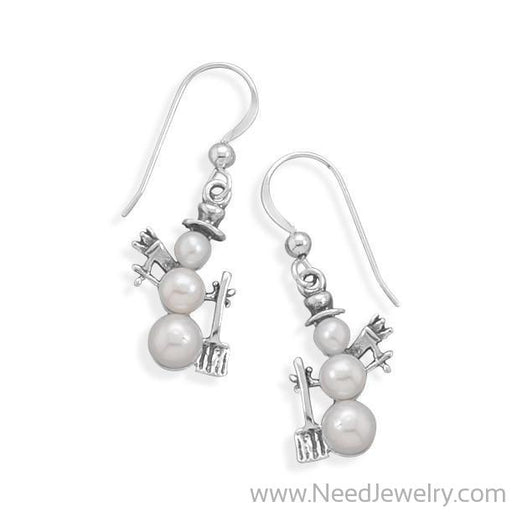 Cultured Freshwater Pearl Snowman Earrings-Earrings-Needjewelry.com