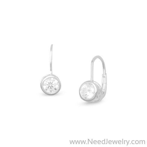 Bezel CZ Lever Earrings-Earrings-Needjewelry.com