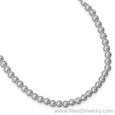 -6mm Sterling Silver Bead Strand-Necklaces-Needjewelry.com