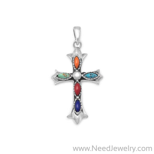 Marquise Multicolor Stone Cross Pendant-Pendants-Needjewelry.com