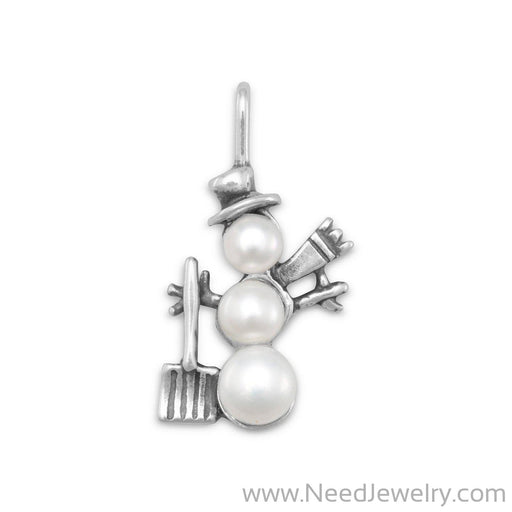 Cultured Freshwater Pearl Snowman Charm-Charms-Needjewelry.com