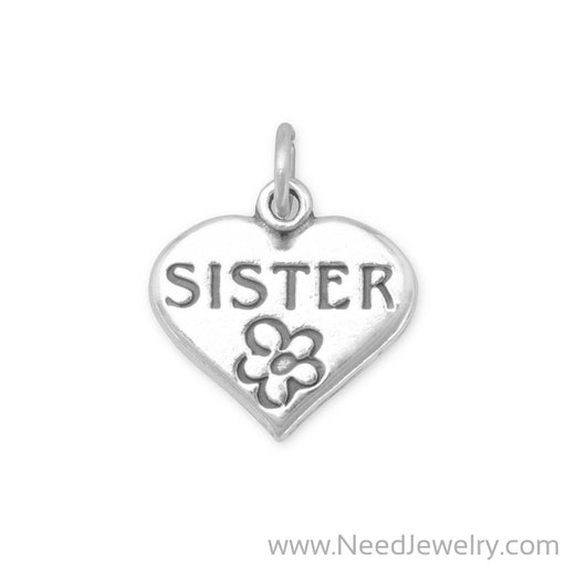 SISTER in Heart Charm-Charms-Needjewelry.com