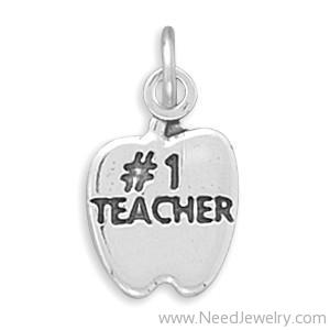 #1 TEACHER in Apple Charm-Charms-Needjewelry.com