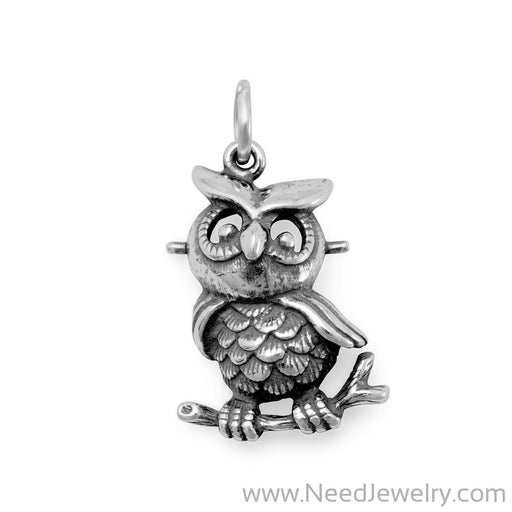 Oxidized Owl Charm-Charms-Needjewelry.com
