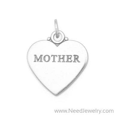 "Oxidized ""MOTHER"" Heart Charm-Charms-Needjewelry.com"
