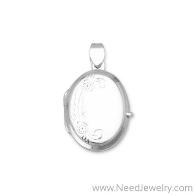 Small Polished Floral Design Oval Picture Locket-Pendants-Needjewelry.com