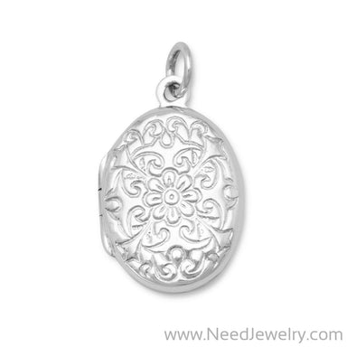 Oval Polished Floral Design Locket-Pendants-Needjewelry.com