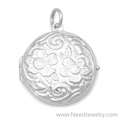Round Floral Design Locket-Pendants-Needjewelry.com