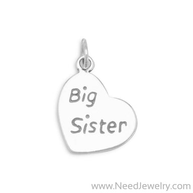 "Oxidized ""Big Sister"" Heart Charm-Charms-Needjewelry.com"