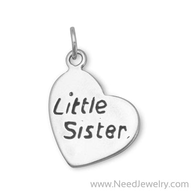 "Oxidized ""Little Sister"" Heart Charm-Charms-Needjewelry.com"