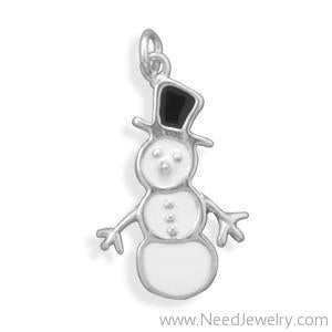 White/Black Snowman Charm-Charms-Needjewelry.com
