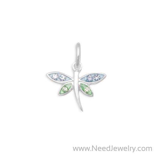 Epoxy Dragonfly Charm with Crystals-Charms-Needjewelry.com