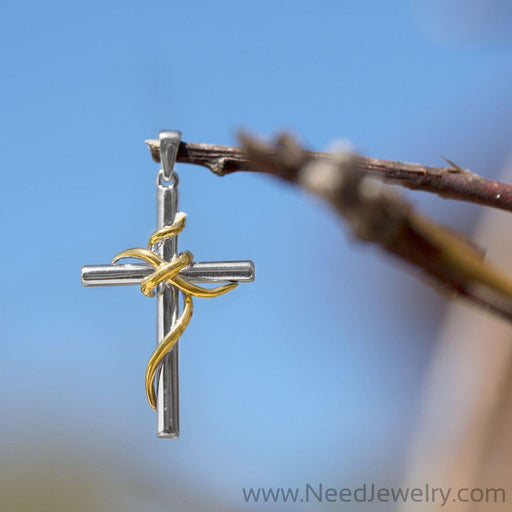 Rhodium and 14 Karat Gold Plated Sterling Silver Cross Pendant-Pendants-Needjewelry.com