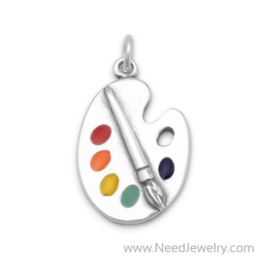 Painter's Palette with Enamel Colors Charm-Charms-Needjewelry.com