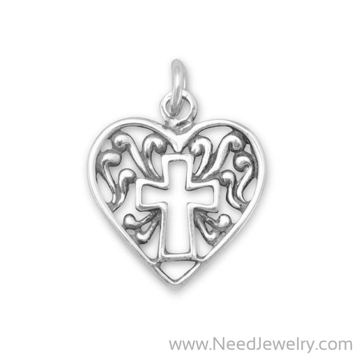 Heart Charm with Cross Outline-Charms-Needjewelry.com