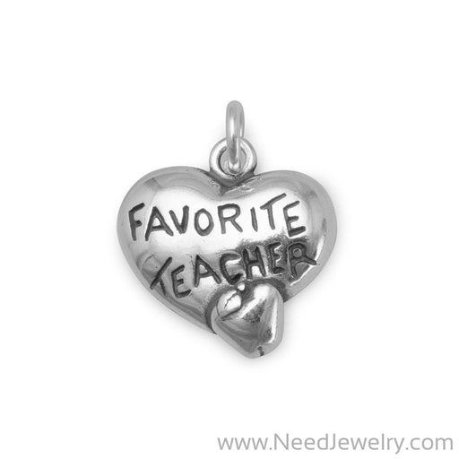 Heart Charm with Favorite Teacher and Apple-Charms-Needjewelry.com
