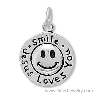 Smile Jesus Loves You Charm-Charms-Needjewelry.com