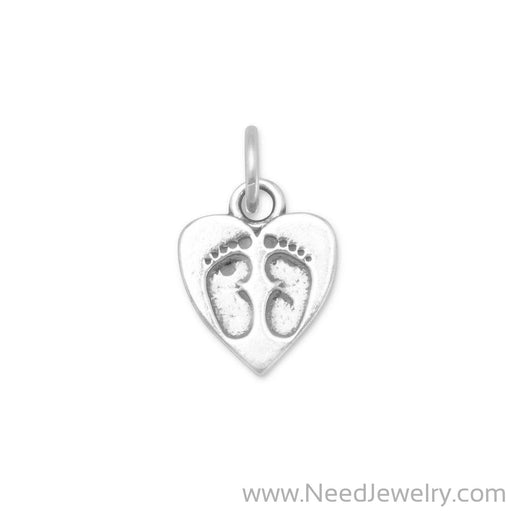 Heart Charm with Baby Footprints-Charms-Needjewelry.com