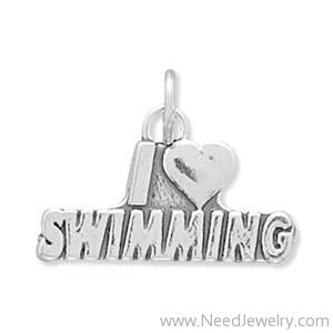 I Love Swimming Charm-Charms-Needjewelry.com