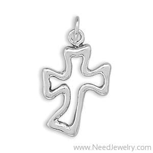Cut Out Curved Cross Charm-Charms-Needjewelry.com