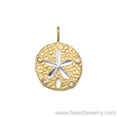 14 Karat Gold Plated Sand Dollar Pendant-Pendants-Needjewelry.com