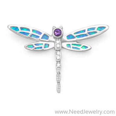 Synthetic Opal and CZ Dragonfly Slide-Pendants-Needjewelry.com