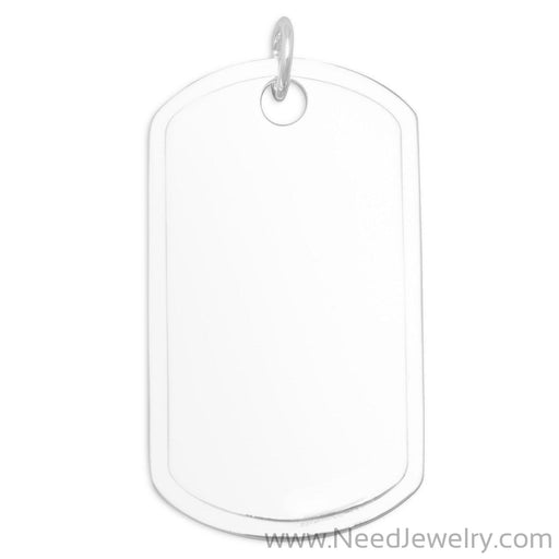 Sterling Silver Dog Tag Pendant-Pendants-Needjewelry.com