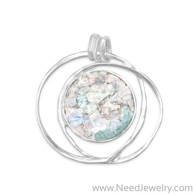 Open Wire Design Ancient Roman Glass Pendant-Pendants-Needjewelry.com