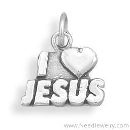 "Oxidized ""I Love Jesus"" Charm-Charms-Needjewelry.com"