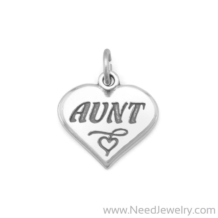 "Oxidized Heart Charm with ""Aunt""-Charms-Needjewelry.com"