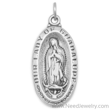 "Oxidized ""Our Lady of Guadalupe"" Medallion Charm-Charms-Needjewelry.com"
