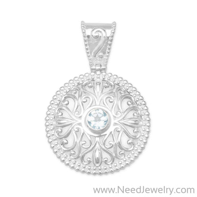 Blue Topaz Pendant with Swirl Cut Out Design-Pendants-Needjewelry.com