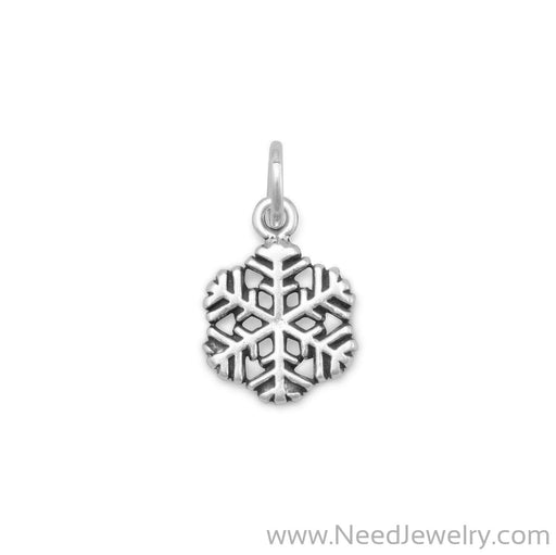 Small Oxidized Snowflake Charm-Charms-Needjewelry.com