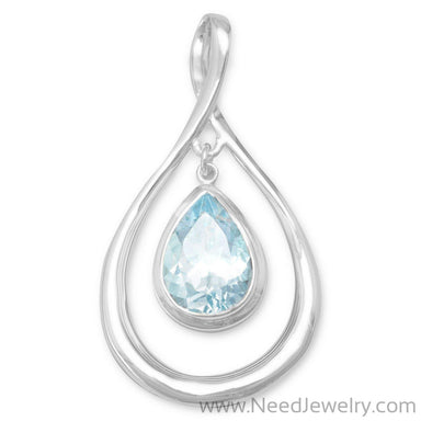 Pear Shape Pendant with Blue Topaz Drop-Pendants-Needjewelry.com