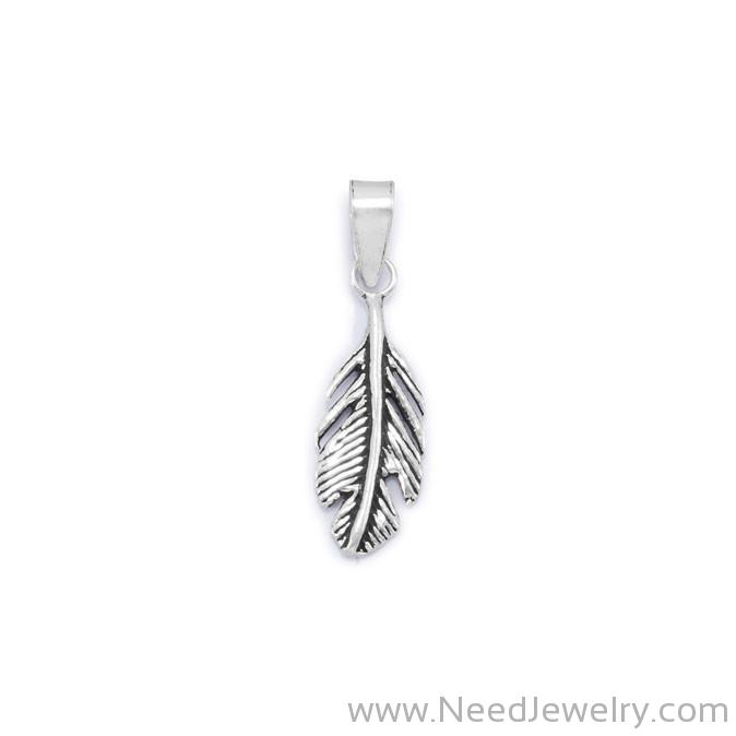 Oxidized Feather Pendant-Pendants-Needjewelry.com