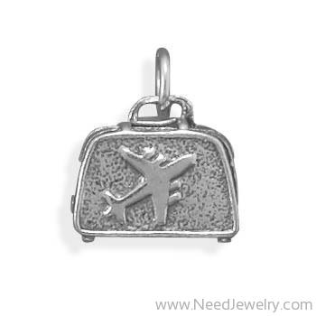 Oxidized Suitcase Charm-Charms-Needjewelry.com