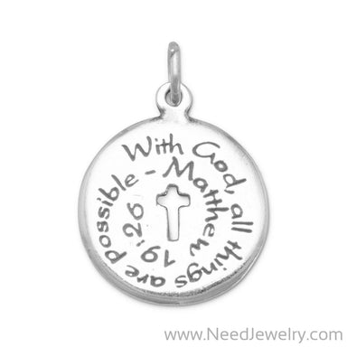 Oxidized Charm with Matthew 19:26 Quote-Charms-Needjewelry.com