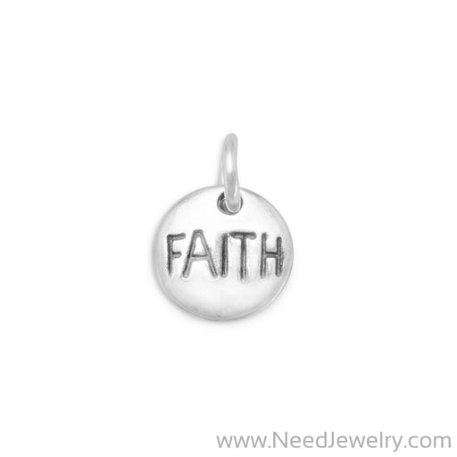 "Oxidized ""Faith"" Charm-Charms-Needjewelry.com"