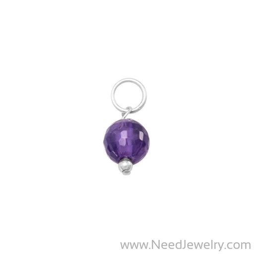Faceted Amethyst Bead Charm - February Birthstone-Charms-Needjewelry.com