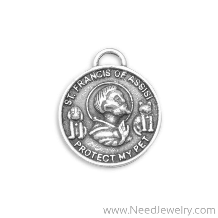 Oxidized St. Francis of Assisi Charm-Charms-Needjewelry.com