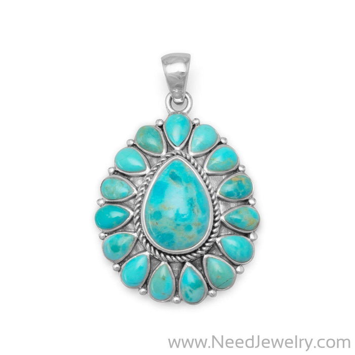 Oxidized Pear Shape Reconstituted Turquoise Pendant-Pendants-Needjewelry.com