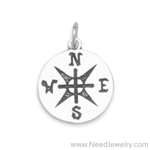 Oxidized Compass Pendant-Pendants-Needjewelry.com