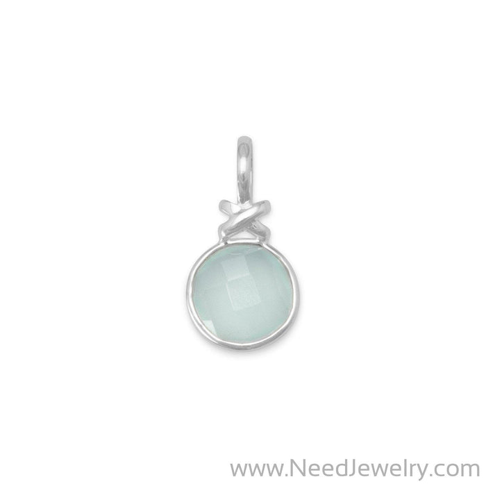 "Faceted Sea Green Chalcedony Pendant with ""X"" Design-Pendants-Needjewelry.com"