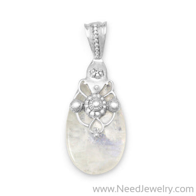 Ornate Rainbow Moonstone Pendant-Pendants-Needjewelry.com