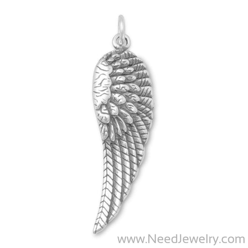 Oxidized Angel Wing Charm-Charms-Needjewelry.com