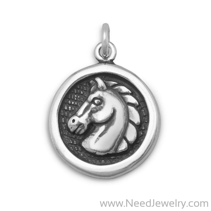 Oxidized Disc Charm with Horse Profile-Charms-Needjewelry.com