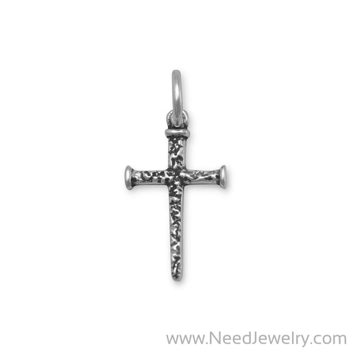 Small Oxidized Cross of Nails Pendant-Pendants-Needjewelry.com